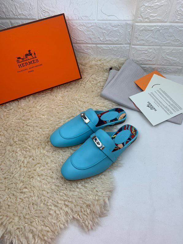 Hermes female classic purely-handstiched casual slipper outdoor sandal mules half drag shoe embellished with symbolic branded turn-lock
