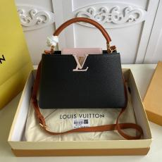 ultimate Version M55781 Louis Vuitton/LV Capucines BB tote handbag feminine double-compartment large-capacity traveling shopping bag with protective base studs
