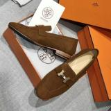 Hermes female casual suede loafer breathable skim-proof driver shoes convenient lightweight slip-on with decorative iconic H-LOGO buckle