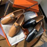 Hermes female square-toe plain flat loafer casual breathable slip-on with decorative carriage-LOGO  buckle