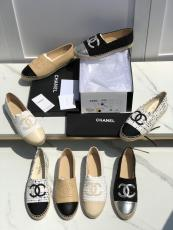 Chanel female casual flat espadrilles breathable skim-proof slip-on in lambskin leather