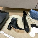 Chanel female mixed-material pointed -toe Chelsea zipper ankle boot with low chunky heel