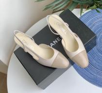 Chanel female stylish lightweight pointed-toe outdoor casual sandal with chunky heel