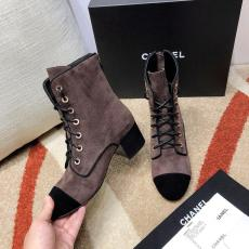 Chanel female suede leather lace-up skim-proof ankle boot with chunky heel must-have winter piece