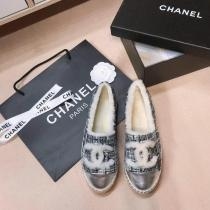 Chanel female canvas warm-keeping espadrille with fluffy woollen lining indispensable winter outfit