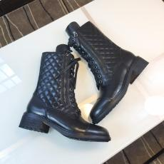 Chanel female pure-color lace-up chunky-heel ankle boot anti-cold winter outfit
