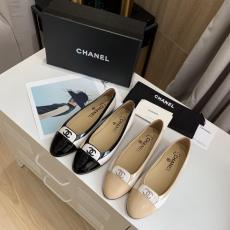 Chanel female contrast-color flat casual toe shoe ballerina shoe convenient slip-on with sophisticatedly-embroidered logo