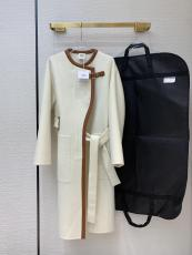 Hermes lady luxury casual one-piece cashmere trench coat cold-proof waterproof bathrobe dust coat  windbreaker with waisted belt