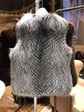 Dior female luxury sleeveless silver fox fur vest rich lady socialite worthy-owned outfit piece cold-proof winter fur jacket