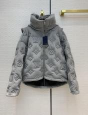 Louis vuitton/Lv neutral cold-proof monogram-embossed tight down jacket cashmere plain overcoat with removable hood