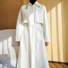 Hermes lady trendy bathrobe-style two-pieces-set cashmere trench coat casual cold-proof long bathrobe outwear with waisted belt
