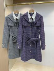 Chanel lady casual lapel warm trench coat plain one-piece dress windproof dust coat relaxed fit trench with waist tie