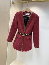 Chanel female vintage collarless cropped jacket autumn windproof thin coat streetwear with waist belt finish