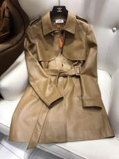 Hermes female casual relaxed fit lambskin leather trench coat waterproof windproof suede dust coat winter overcoat with waisted belt
