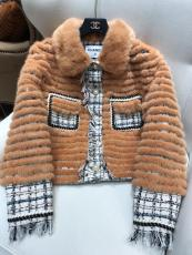 Chanel woman vintage Mink jacket with fluffy collar luxury coldproof fur parka coat warm outerwear with ribbed body and front pearl-encrusted button fastenning