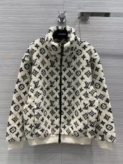 Louis Vuitton/Lv neutral monogram-printed fleece jacket lightweight winter outerwear thick suede coat with front zip-up fastening