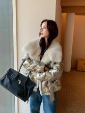 Chanel upscale lady's couture collarless fluffy fur jacket tight winter leather fur outerwear suede windbreaker with faux pearl trimming