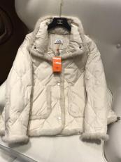 Hermes upscale female couture quilted relaxed down jacket with high neck casual down windbreaker winter fur outerwear