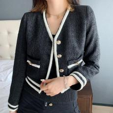 Chanel lady casual collarless boucle tweed  jacket autumn thin cropped coat upscale chanel couture socialite evening party wear