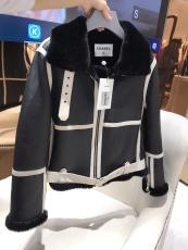 Chanel female casual Tuscany leather fur jacket with fluffy collar and cuff must-have winter fur outerwear suede windbreaker women's fur parka