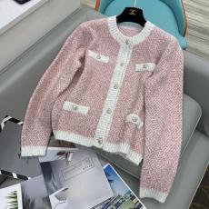 Chanel woman casual collarless woollen sweater breathable knitwear cardigan coat autumn warm outerwear