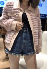 Chanel vintage socialite collarless Mink  jacket warm winter leather mink outerwear stylish fur coat with ribbed body
