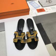 Hermes woman's round toe chunky sandal printing outdoor slipper