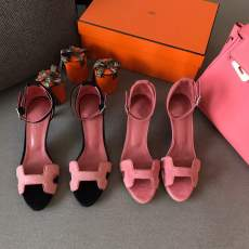 Hermes female suede ankle wrap kitten sandal casual summer street wear lightweight pump multicolor color election