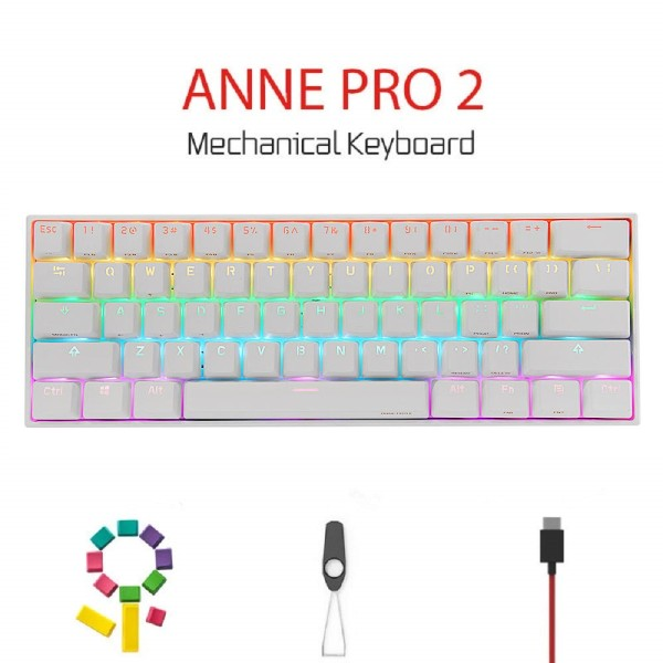 ANNE PRO 2 Kailh Box Switch, 60% Wired/Wireless Mechanical Keyboard - Full Keys Programmable - True RGB Backlit - Tap Arrow Keys - Double Shot PBT Keycaps - NKRO - 1900mAh Battery