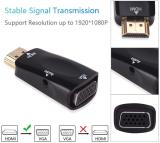 CORN Gold-plated HDMI to VGA Converter Adapter with 3.5mm Audio Port Cable For PC, Laptop, DVD, Desktop, Ultrabook, Notebook, Intel Nuc, Macbook Pro, Chromebook, Roku Streaming Media Player etc