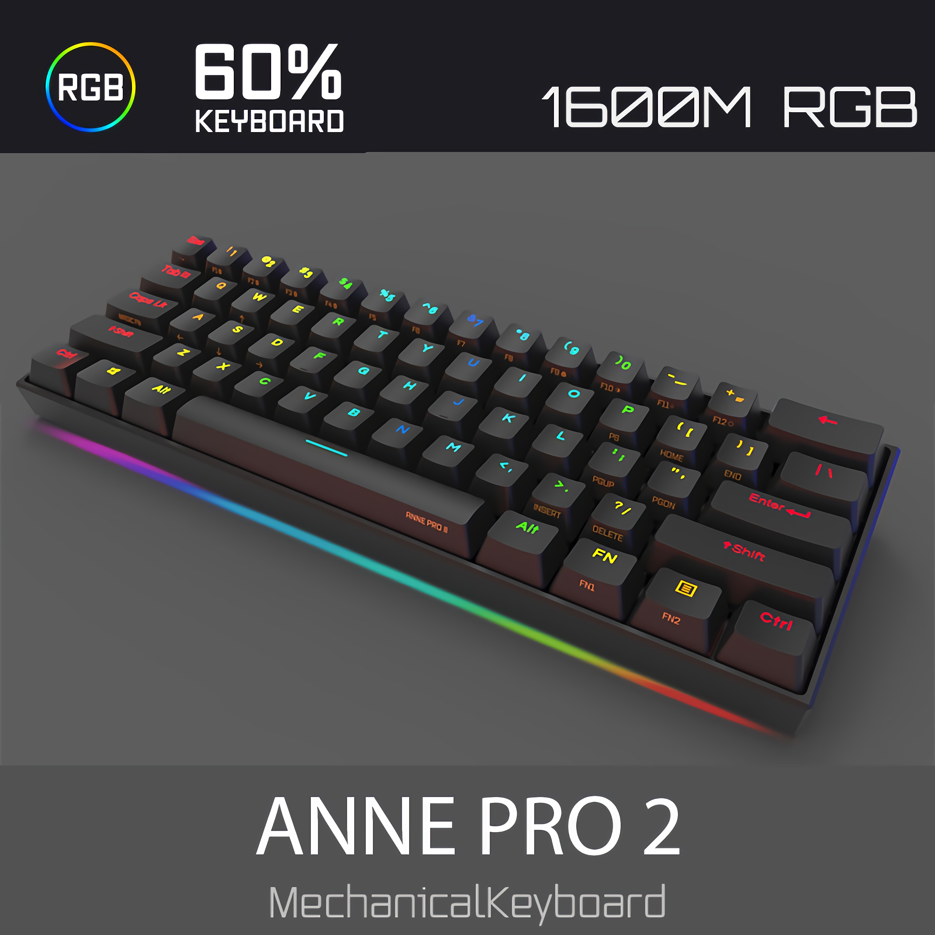 ANNE PRO 2 Cherry MX Switch, 60% Wired/Wireless Mechanical Keyboard - Full Keys Programmable - True RGB Backlit - Tap Arrow Keys - Double Shot PBT Keycaps - NKRO - 1900mAh Battery