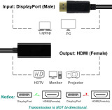 CORN DP Display port Displayport Male to HDMI Female Converter Adapter Black/white DP to HDMI Displayport to HDMI Adapter Black M/F HD 1080P AV Converter for Lenovo Dell HP and other Brand