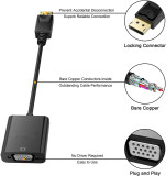 CORN 1080P 20 Pin DP DisplayPort Male To 15 Pin VGA Female Adapter Cable Converter for Macbook, ThinkPad, PC, Laptop, Digital Monitor, Projector, Computers