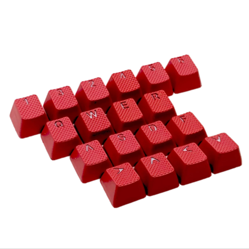 CORN Rubber Keycaps Cherry MX Double Shot Backlit 18 Keycap Set Compatible for Gaming Mechanical Keyboard OEM Profile Doubleshot Rubberized Diamond Textured Tactile Grip with Key Puller