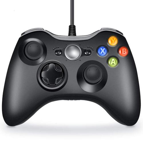 CORN Wired Xbox 360 Controller Compatible with Microsoft Xbox 360 & Slim/Windows/PC (Black)