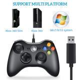 CORN Wired Xbox 360 Controller Compatible with Microsoft Xbox 360 & Slim/Windows/PC (Black)