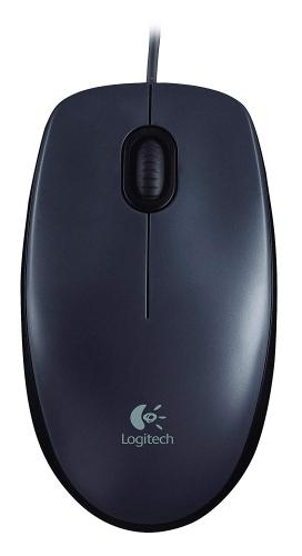 Logitech M90 3 Buttons 1000DPI 4.9 ft USB Wired Optical Sensor Mouse For Both Hands - Black