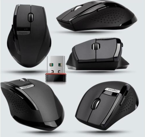 2.4GHz Rapoo 3200 Ergonomic Usb Wireless Laser 6 Buttons PPO Multi Mode Mouse Black