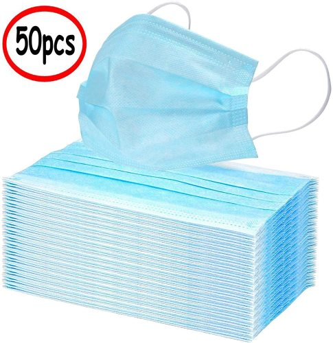 50Pcs Disposable 3-Layer Masks, Anti Dust Breathable Disposable Earloop Mouth Face Mask, Comfortable Medical Sanitary Surgical Mask Blue