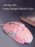 CORN Ergonomic Design,Cool Exterior 8-button 6400DPI USB Wired Gaming Mouse For Office And Game - Pink Cat Claw Version