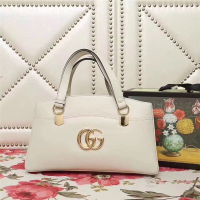 Gucci Arli Large Top Handle Bags Double GG Logo Vintage Handbag White 550130