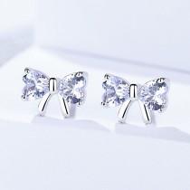 Silver bow earrings 452