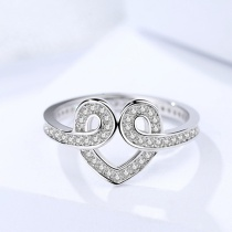 Silver heart ring 359