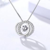 Silver Double circle pendant 978