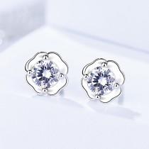 silver flower earring 551