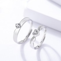 silver heart open ring 255