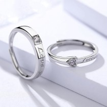 silver heart open ring 449