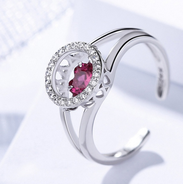 Silver heart ring 507