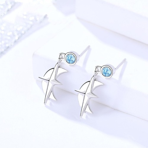 Silver moon star earrings 291