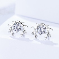 Silver antler earrings 018